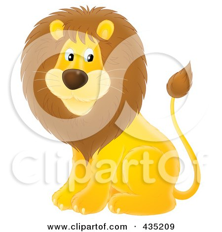 Royalty-Free (RF) Clipart Illustration of a Cute Male Lion by Alex Bannykh