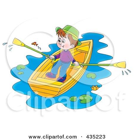 Royalty-Free (RF) Clipart Illustration of a Boy Rowing A Boat by Alex Bannykh