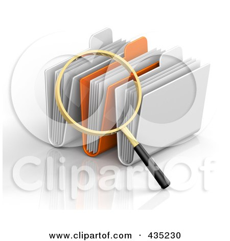 Royalty-Free (RF) Clipart Illustration of a 3d Magnifying Glass Searching Through Folders by Tonis Pan