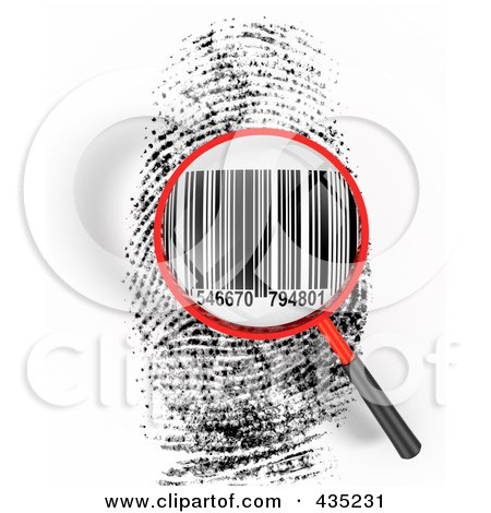 Royalty-Free (RF) Clipart Illustration of a 3d Magnifying Glass Hovering Over A Finger Print With A Bar Code by Tonis Pan