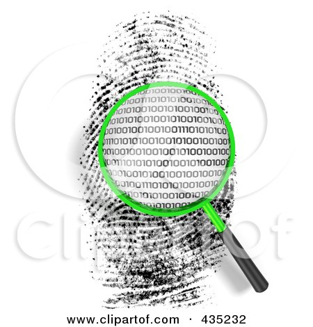 Royalty-Free (RF) Clipart Illustration of a 3d Magnifying Glass Hovering Over A Finger Print With Binary Code by Tonis Pan