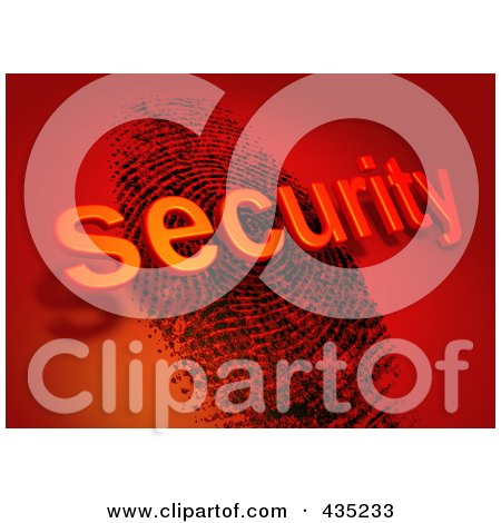 Royalty-Free (RF) Clipart Illustration of The 3d Word Security Over A Fingerprint On Red by Tonis Pan