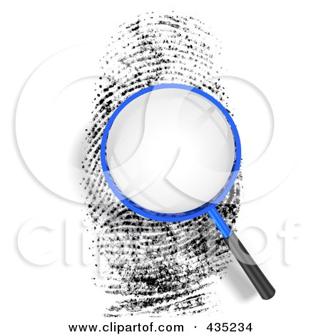 Royalty-Free (RF) Clipart Illustration of a 3d Magnifying Glass Over Blank Space On A Finger Print by Tonis Pan
