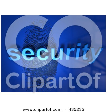 Royalty-Free (RF) Clipart Illustration of The 3d Word Security Over A Fingerprint On Blue by Tonis Pan