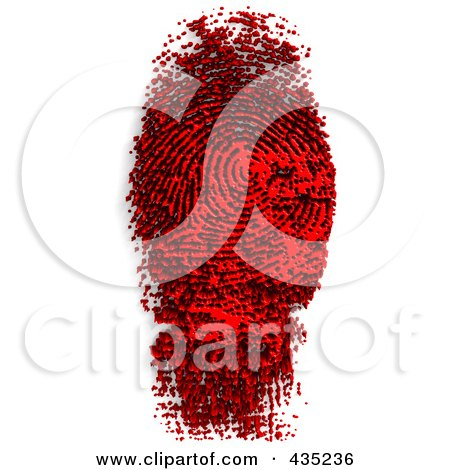 Royalty-Free (RF) Clipart Illustration of a Fingerprint Made Of Black And Red Ink by Tonis Pan