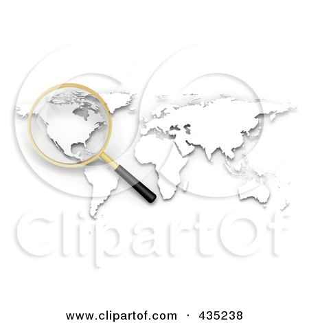 Royalty-Free (RF) Clipart Illustration of a 3d Magnifying Glass Hovering Over North America On A White Atlas by Tonis Pan