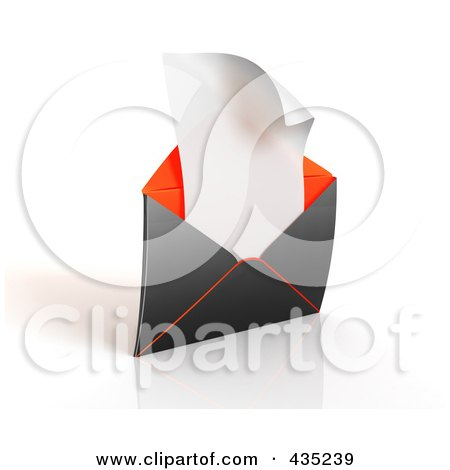 Royalty-Free (RF) Clipart Illustration of a 3d Black And Orange Open Envelop Revealing A Blank Sheet Of Paper by Tonis Pan