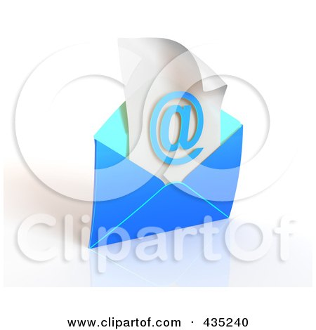 Royalty-Free (RF) Clipart Illustration of a 3d Blue Open Envelop Revealing An Arobase On Paper by Tonis Pan