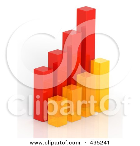 Royalty-Free (RF) Clipart Illustration of a 3d Red, Orange And Yellow Bar Graph Diagram - 3 by Tonis Pan
