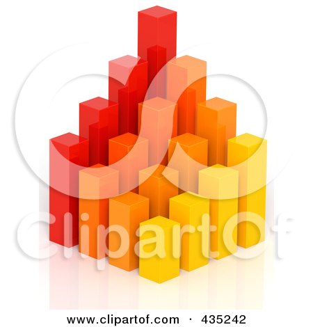 Royalty-Free (RF) Clipart Illustration of a 3d Red, Orange And Yellow Bar Graph Diagram - 2 by Tonis Pan