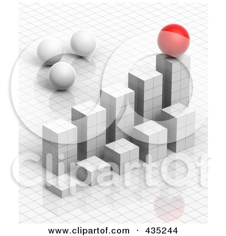 Royalty-Free (RF) Clipart Illustration of a 3d White Grid Graph Diagram With White And Red Spheres by Tonis Pan