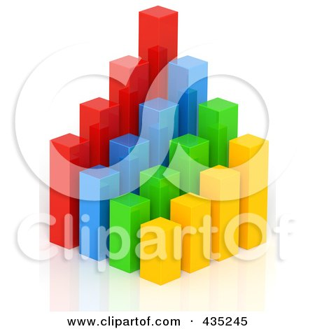 Royalty-Free (RF) Clipart Illustration of a 3d Colorful Bar Graph Diagram - 1 by Tonis Pan