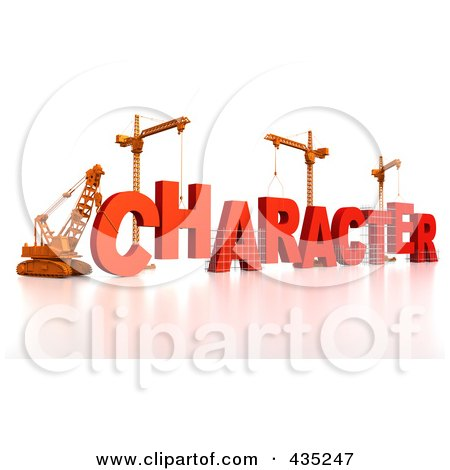 Royalty-Free (RF) Clipart Illustration of a 3d Construction Cranes And Lifting Machines Assembling The Word CHARACTER by Tonis Pan