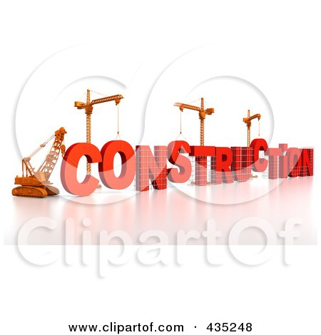 Royalty-Free (RF) Clipart Illustration of a 3d Construction Cranes And Lifting Machines Assembling The Word CONSTRUCTION by Tonis Pan