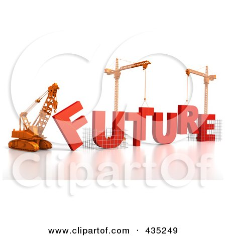 Royalty-Free (RF) Clipart Illustration of a 3d Construction Cranes And Lifting Machines Assembling The Word FUTURE by Tonis Pan