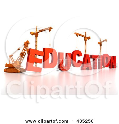 Royalty-Free (RF) Clipart Illustration of a 3d Construction Cranes And Lifting Machines Assembling The Word EDUCATION by Tonis Pan
