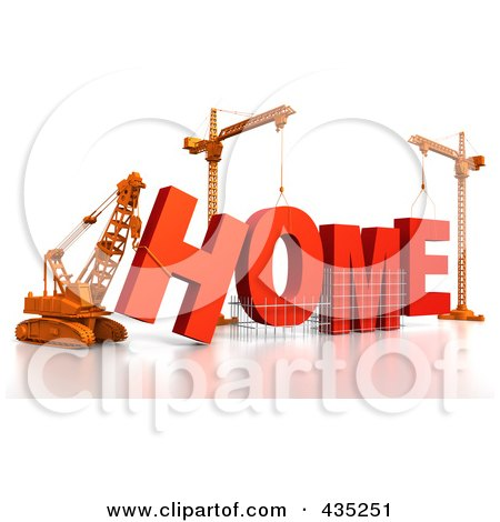 Royalty-Free (RF) Clipart Illustration of a 3d Construction Cranes And Lifting Machines Assembling The Word HOME by Tonis Pan