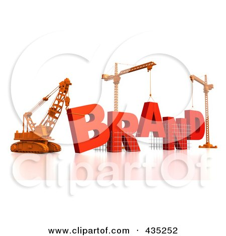 Royalty-Free (RF) Clipart Illustration of a 3d Construction Cranes And Lifting Machines Assembling The Word BRAND by Tonis Pan