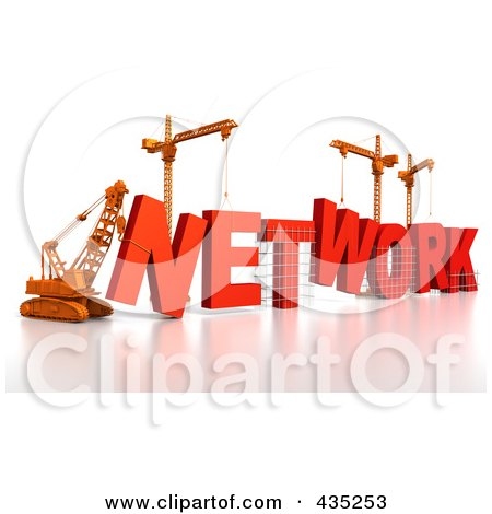 Royalty-Free (RF) Clipart Illustration of a 3d Construction Cranes And Lifting Machines Assembling The Word NETWORK by Tonis Pan