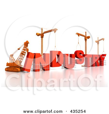 Royalty-Free (RF) Clipart Illustration of a 3d Construction Cranes And Lifting Machines Assembling The Word INDUSTRY by Tonis Pan