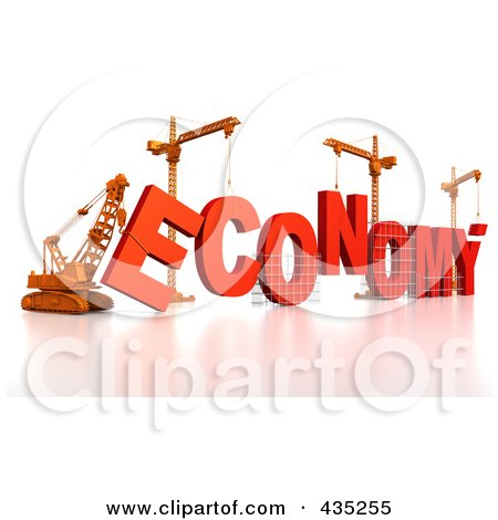 Royalty-Free (RF) Clipart Illustration of a 3d Construction Cranes And Lifting Machines Assembling The Word ECONOMY by Tonis Pan