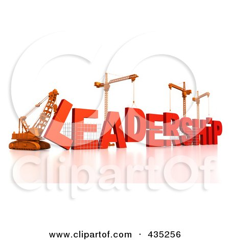 Royalty-Free (RF) Clipart Illustration of a 3d Construction Cranes And Lifting Machines Assembling The Word LEADERSHIP by Tonis Pan