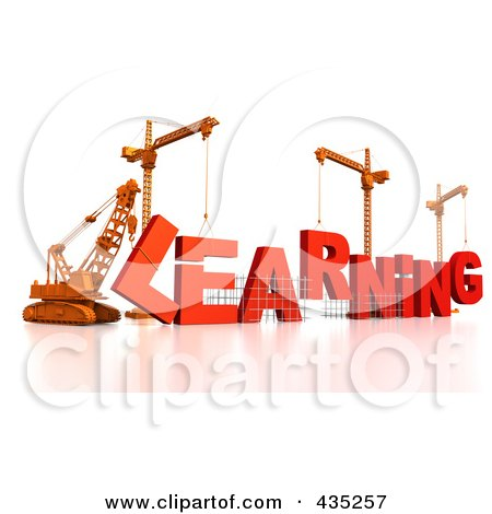 Royalty-Free (RF) Clipart Illustration of a 3d Construction Cranes And Lifting Machines Assembling The Word LEARNING by Tonis Pan