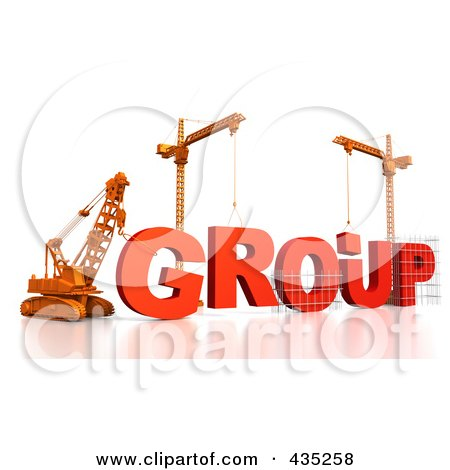 Royalty-Free (RF) Clipart Illustration of a 3d Construction Cranes And Lifting Machines Assembling The Word GROUP by Tonis Pan