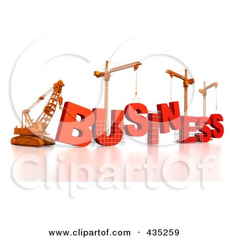 Royalty-Free (RF) Clipart Illustration of a 3d Construction Cranes And Lifting Machines Assembling The Word BUSINESS by Tonis Pan