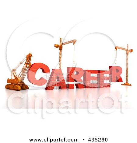 Royalty-Free (RF) Clipart Illustration of a 3d Construction Cranes And Lifting Machines Assembling The Word CAREER by Tonis Pan