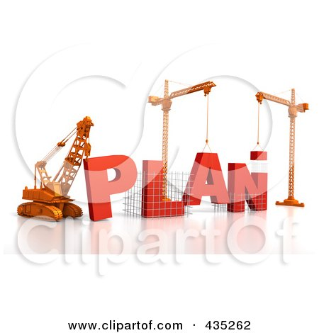 Royalty-Free (RF) Clipart Illustration of a 3d Construction Cranes And Lifting Machines Assembling The Word PLAN by Tonis Pan