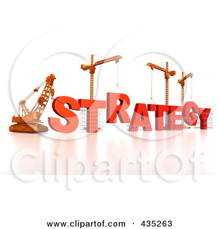 Royalty-Free (RF) Clipart Illustration of a 3d Construction Cranes And Lifting Machines Assembling The Word STRATEGY by Tonis Pan