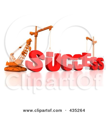 Royalty-Free (RF) Clipart Illustration of a 3d Construction Cranes And Lifting Machines Assembling The Word SUCCESS by Tonis Pan