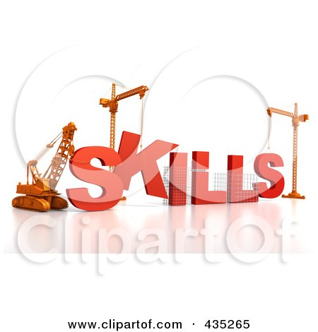 Royalty-Free (RF) Clipart Illustration of a 3d Construction Cranes And Lifting Machines Assembling The Word SKILLS by Tonis Pan