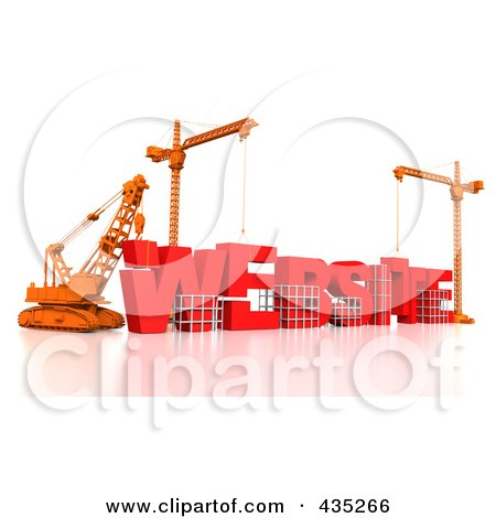 Royalty-Free (RF) Clipart Illustration of a 3d Construction Cranes And Lifting Machines Assembling The Word WEBSITE by Tonis Pan