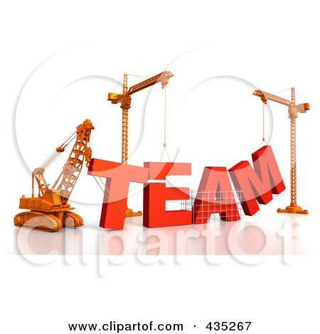 Royalty-Free (RF) Clipart Illustration of a 3d Construction Cranes And Lifting Machines Assembling The Word TEAM by Tonis Pan