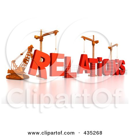 Royalty-Free (RF) Clipart Illustration of a 3d Construction Cranes And Lifting Machines Assembling The Word RELATIONS by Tonis Pan