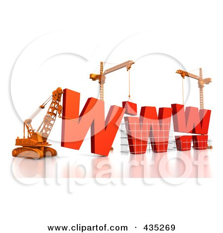 Royalty-Free (RF) Clipart Illustration of a 3d Construction Cranes And Lifting Machines Assembling The Word WWW by Tonis Pan