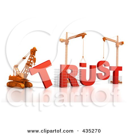 Royalty-Free (RF) Clipart Illustration of a 3d Construction Cranes And Lifting Machines Assembling The Word TRUST by Tonis Pan