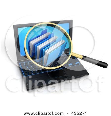 Royalty-Free (RF) Clipart Illustration of a 3d Magnifying Glass Zooming In On Folders On A Laptop Screen by Tonis Pan