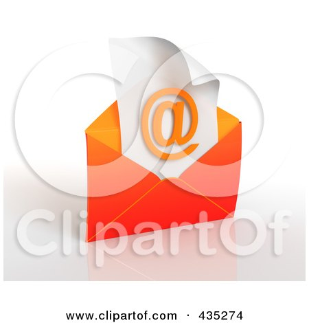 Royalty-Free (RF) Clipart Illustration of a 3d Orange Open Envelop Revealing An Arobase On Paper by Tonis Pan