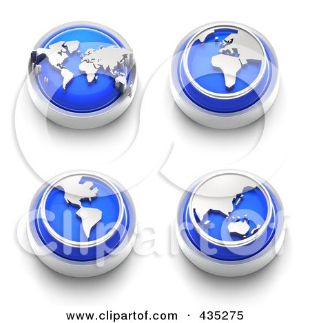 Royalty-Free (RF) Clipart Illustration of a Digital Collage Of 3d Blue Continent Buttons by Tonis Pan