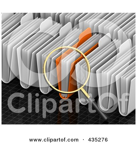 Royalty-Free (RF) Clipart Illustration of a 3d Magnifying Glass Searching Through Folders On A Black Grid by Tonis Pan