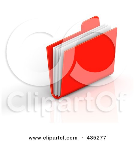 Royalty-Free (RF) Clipart Illustration of a 3d Red File Folder by Tonis Pan