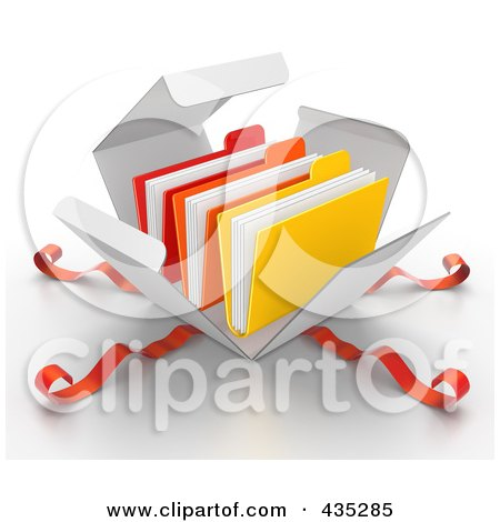 Royalty-Free (RF) Clipart Illustration of 3d File Folders Bursting Out Through A White Box, With Red Ribbons by Tonis Pan