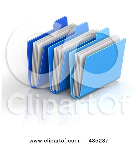 Royalty-Free (RF) Clipart Illustration of 3d Blue Archive Folders With Documents by Tonis Pan