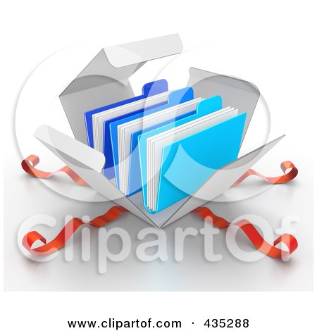 Royalty-Free (RF) Clipart Illustration of 3d Blue Files Bursting Out Through A White Box, With Red Ribbons by Tonis Pan
