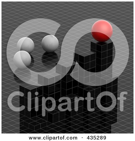 Royalty-Free (RF) Clipart Illustration of a 3d Grid Graph Diagram With White And Red Spheres by Tonis Pan