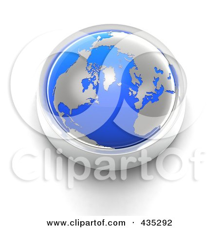 Royalty-Free (RF) Clipart Illustration of a 3d Blue Globe Button by Tonis Pan