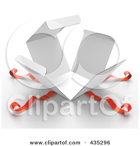 Royalty-Free (RF) Clipart Illustration of a 3d Bursting White Gift Box, With Red Ribbons by Tonis Pan